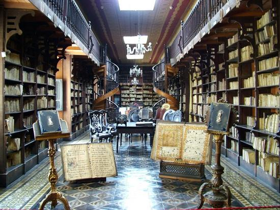 Photo of the library in the Convent of San Francisco, Lima, Peru
